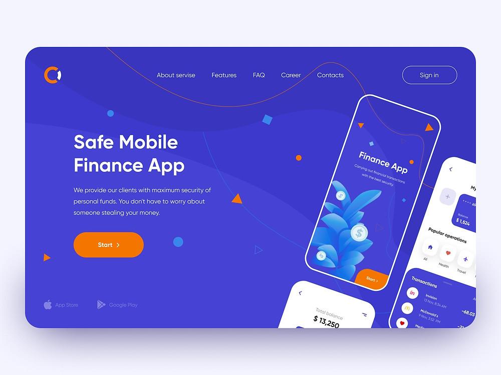 Landing for mobile finance - Webdesign