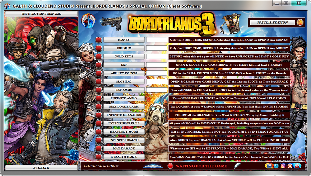 cloudend studio, Borderlands 3, Borderlands, cheats, trainer, code, mod, modded, tips, software, steam, pc, youtube, google, facebook, cheat engine, cheat table, free, script, tool, gameplay, game, dlc, unlock, 100%, items, rpg, cheat happens, eurogamer, 作弊, カンニング, カンニング竹山, tricher, tricks, engaños, トリック, 騙します, betrügen, trucchi, complete guide, 騙子, 사기꾼조심, 사기꾼들, 사기꾼, news, infinite health, ps4, xbox, Arms, Youtube Game, Google Stadia, Epic Games, hack, glitch, zane, gold keys, amara, moze, shooter, FL4K, Legendary Weapon Guide,
