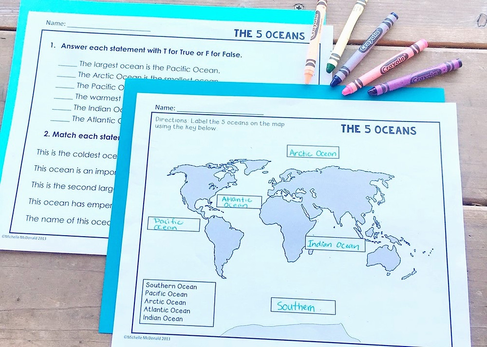 Oceans of the World Mapping and Assessment Worksheet