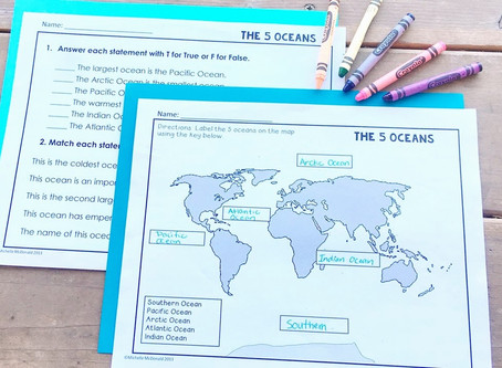 The Five Oceans of the World Lesson Activities