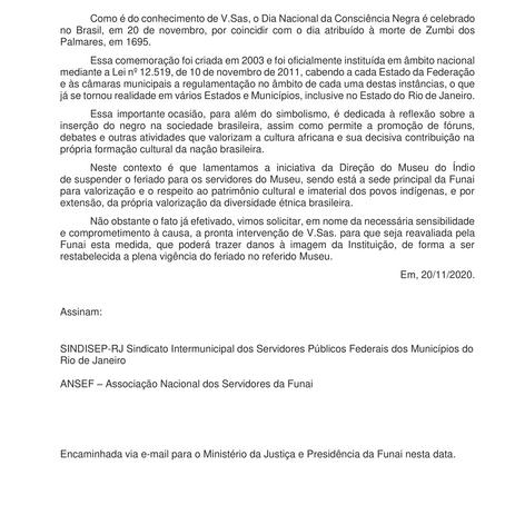 Nota da ANSEF sobre a suspenção do feriado do Dia da Consciência Negra na FUNAI