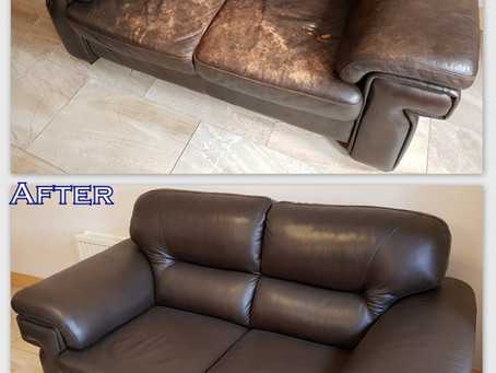 Look at the amazing difference before & after - leather sofa refurbishment by Ashbourne Leather Care