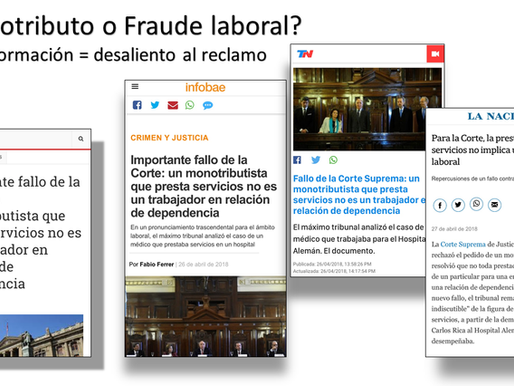 ¿Monotributo o Fraude Laboral? mala informacion = desaliento al reclamo