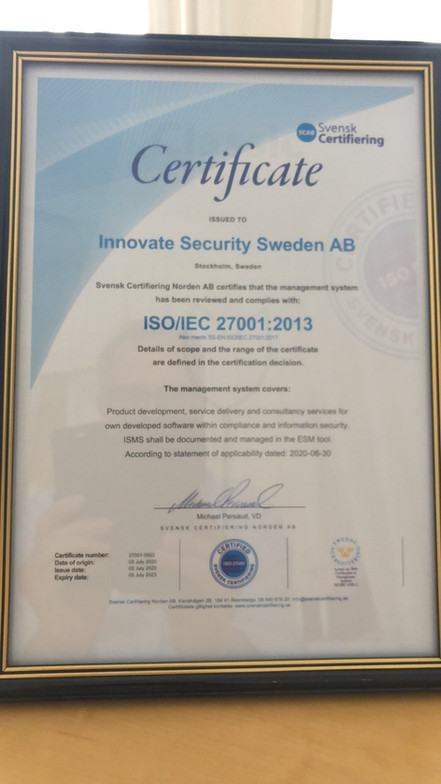 Innovate Security is ISO/IEC27001 certified