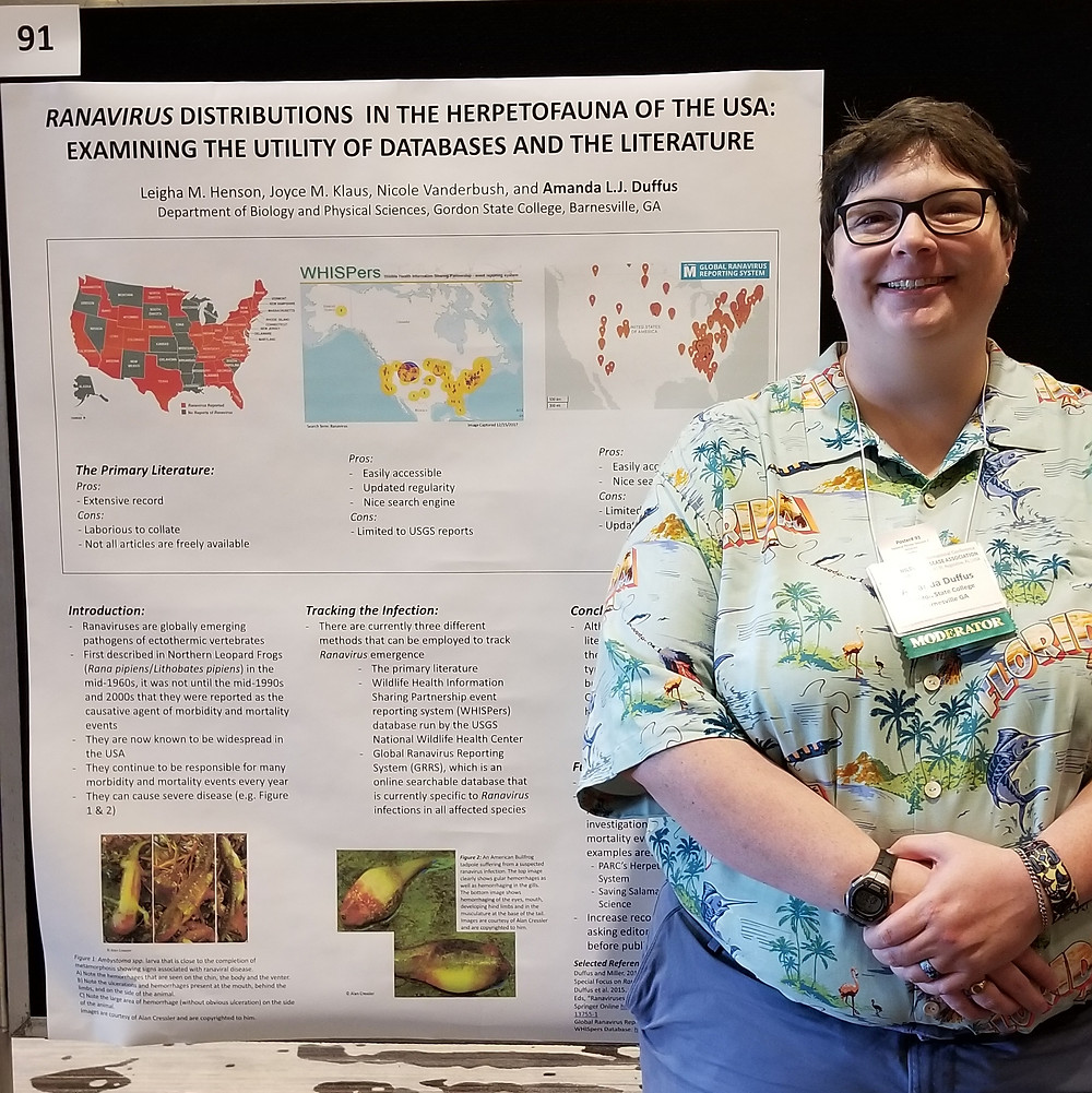 Dr. Amanda Duffus with her poster at WDA 2018 in St. Augustine.