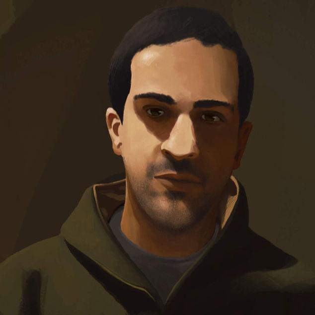Iyad al-Hallaq (Detail) | Digital Portrait Painting (Detail)