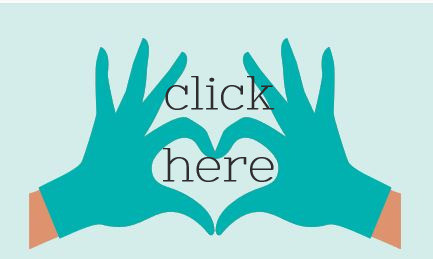 green gloved hands form a heart, text click here
