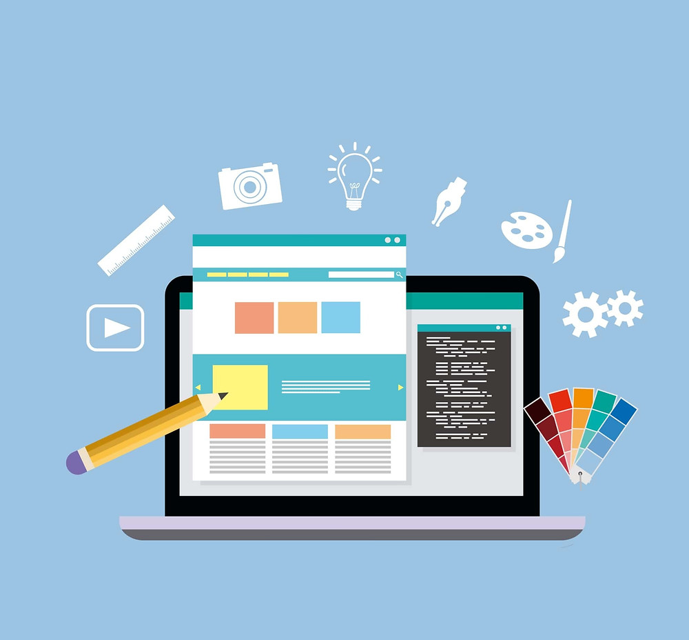 Illustration showing the website template designing concept