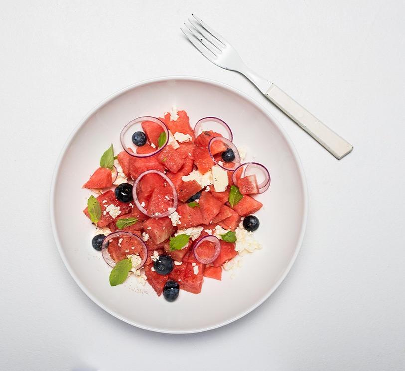 arbūzų ir fetos salotos, ką daryti su arbūzu, Alfo Ivanausko receptai, vmgonline.lt