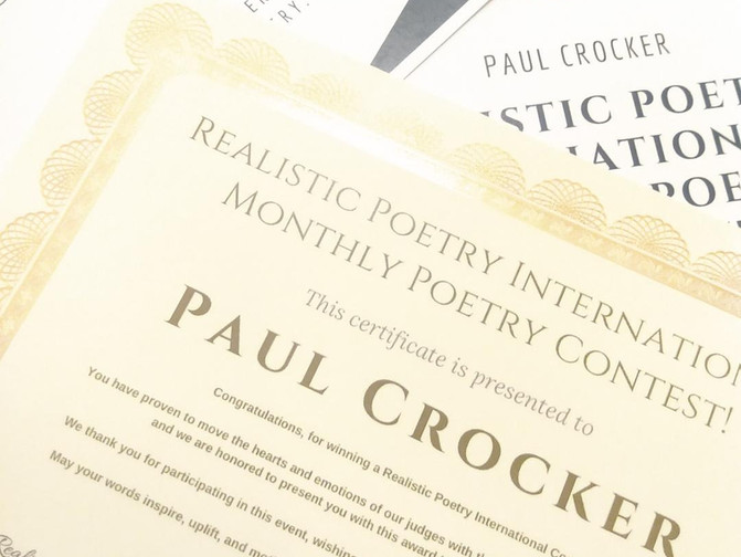 Congratulations, Paul! $200.00 Monthly Poetry Contest Winner