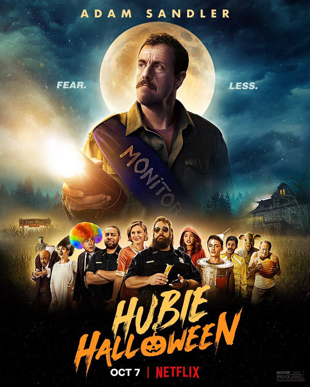 The poster for Hubie Halloween is intentionally over-dramatic. A massive Adam Sandler dominates the majority of the photo, set against a full-moon-background. Other members of the notable cast are layed-out beneath Sandler in far smaller scale.