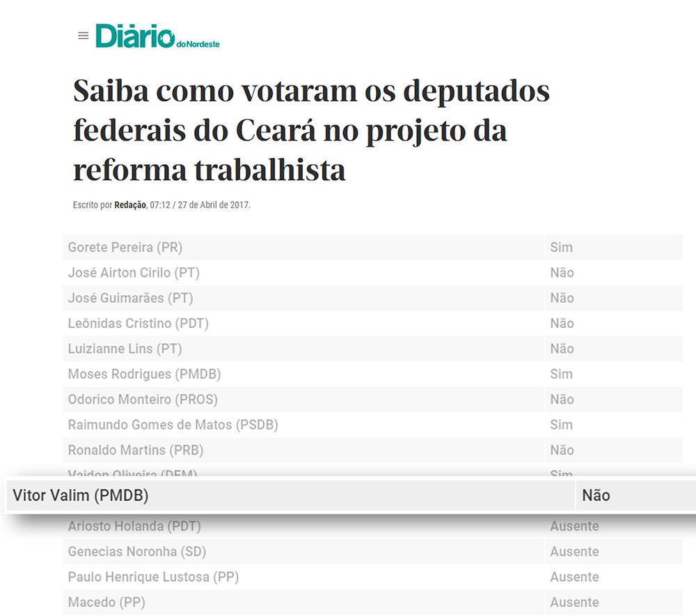 Recorte de matéria publicada no Site Diário Do Nordeste