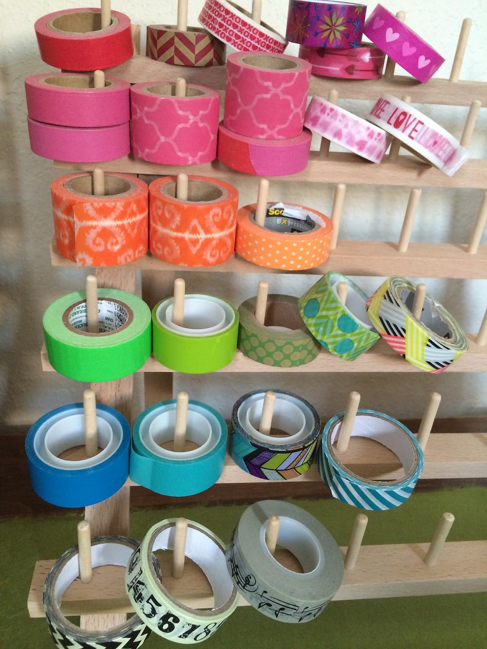Washi tape storage on a spool holder