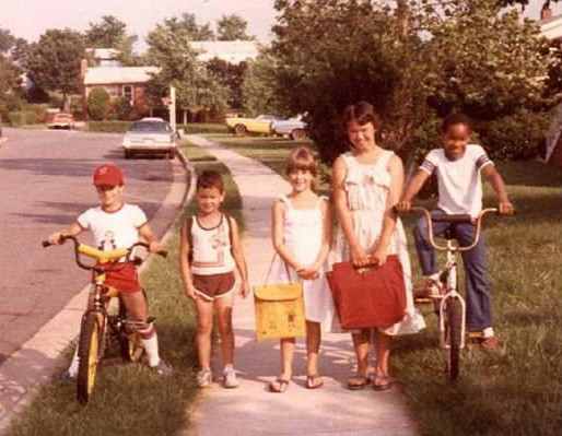 1981 - I'm in the middle with my gang of friends in Dale City, VA, where we spent a good part of the year living outside of DC and getting to know the East Coast.  We rollerskated every day after school in the neighborhood.  Awesome. (PS - dig the Fonzie shirt on my friend?)