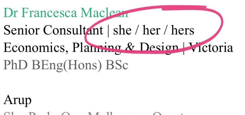 "An image of an email signature: ""Dr Francesca Maclean // Senior Consultant 