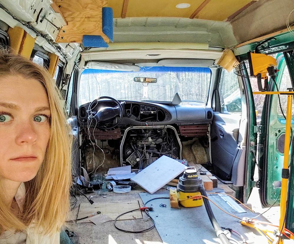 empty gutted campervan