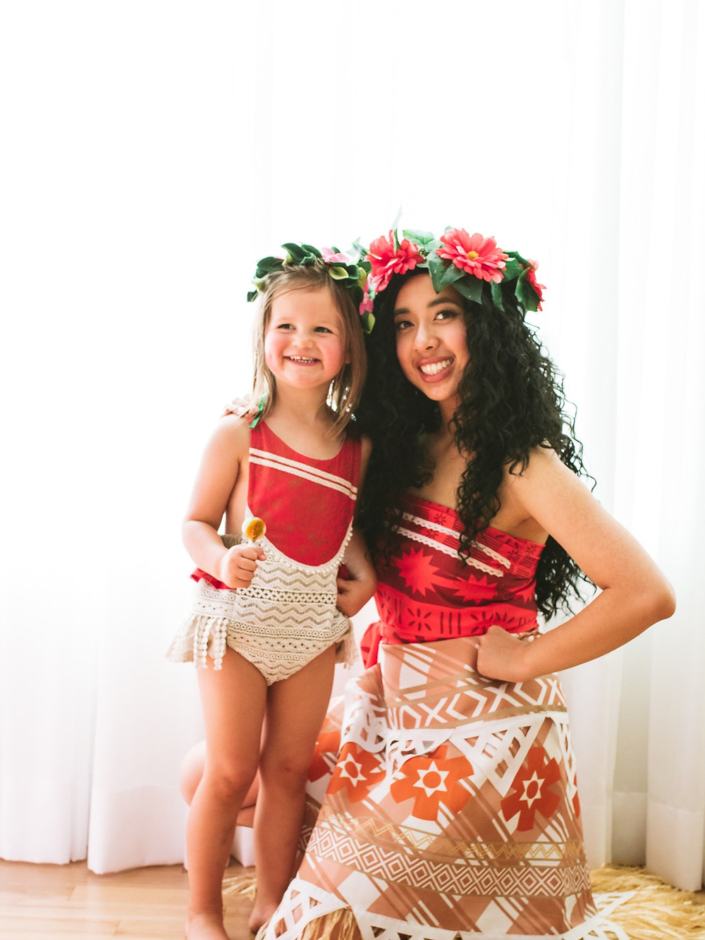 Little girl in Moana romper with Moana