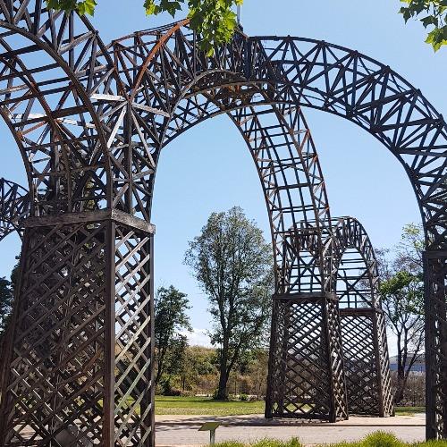 Wooden gate built like British Crown at Rotorua Government Gardens