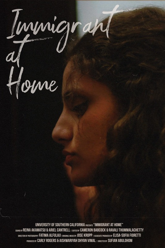 Immigrant at Home movie poster featuring a female's face in profile and the title of the film in a white font.