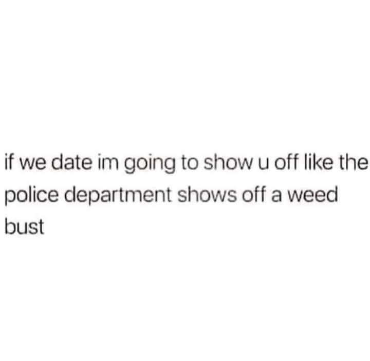 Weed Memes - If We Date I'm Going to show you off like a police department shows off a weed bust