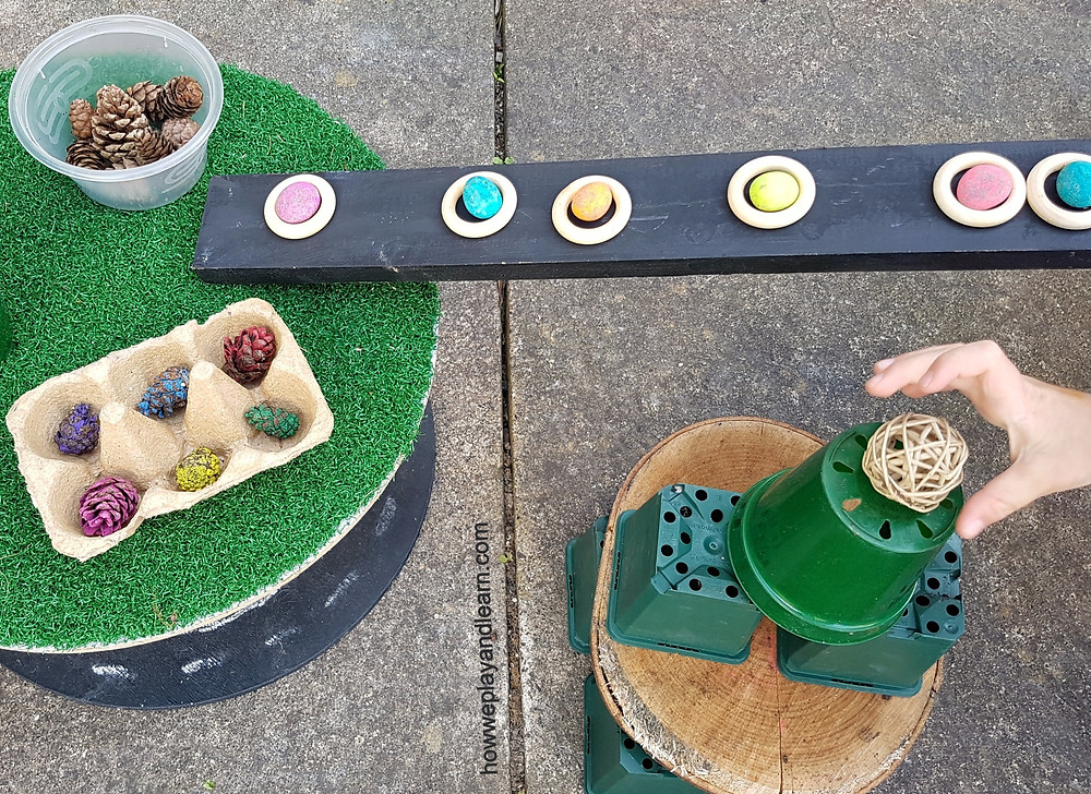 Loose parts play outdoors