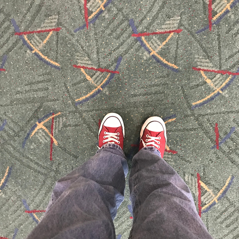 It's a (perhaps silly) tradition among my friends to take this picture of the carpet in the Portland airport upon arrival.