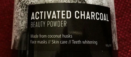 Activated charcoal as a black colouring and for teeth whitening.