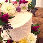 Edible Flowers Single Tier Wedding Cake