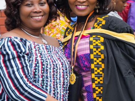 """My Mum left her graduation so she could attend mine""  Gloria Amoah eulogizes her mum as she celebra"