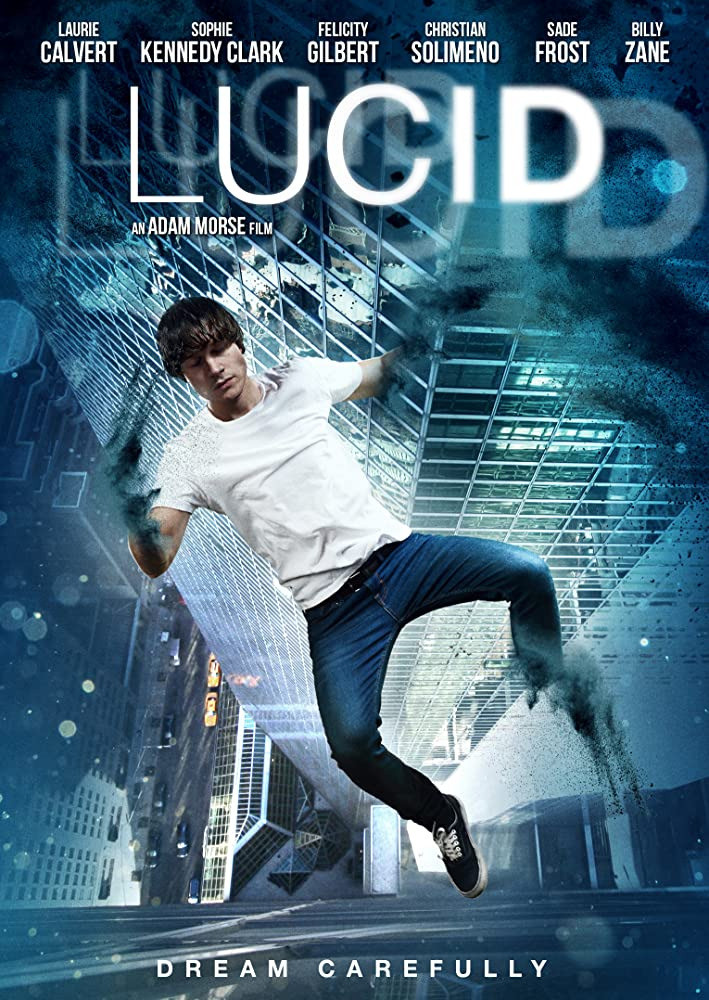 The poster image for Lucid shows us our lead falling backwards, seemingly asleep, toward a city block far below.