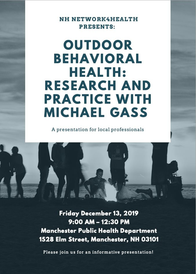 Features presenters: Derek Daley, Legacy Outdoor Adventures, Will White, Summit Achievement, Bogey Foden, True North, Bill Brown, Confluence, Outdoor Behavioral Health: Research and Practice with Dr. Michael Gass from the University of New Hampshire's Outdoor Behavioral Health Center.