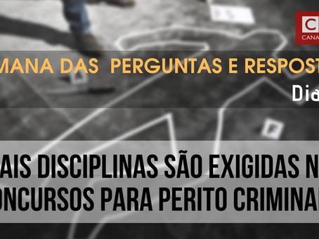 Disciplinas exigidas em concursos para Perito Criminal