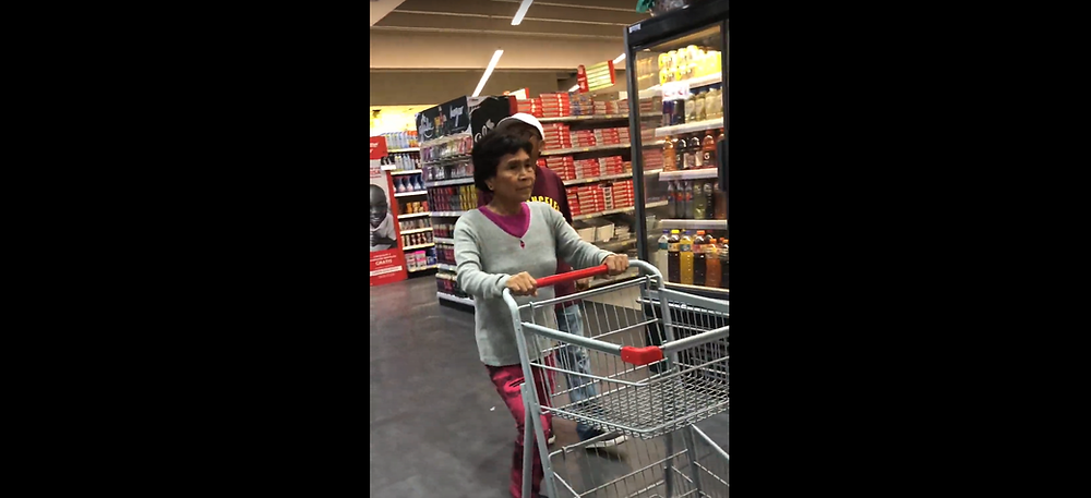 She navigated the cart through the market like a pro! She remembers doing this nearl 30 years ago and enjoyed every minute of it:-) (Photo credit: Elius Kim)