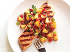 Grilled Halibut with Peach and Pepper
