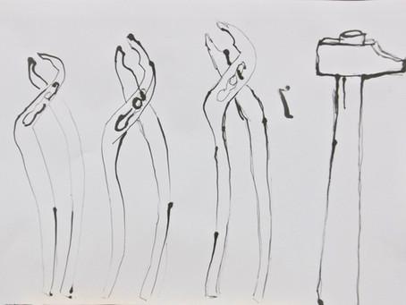 Initiation au dessin : encre de chine / calame        ( roseau ou bambou taillé pour dessiner )