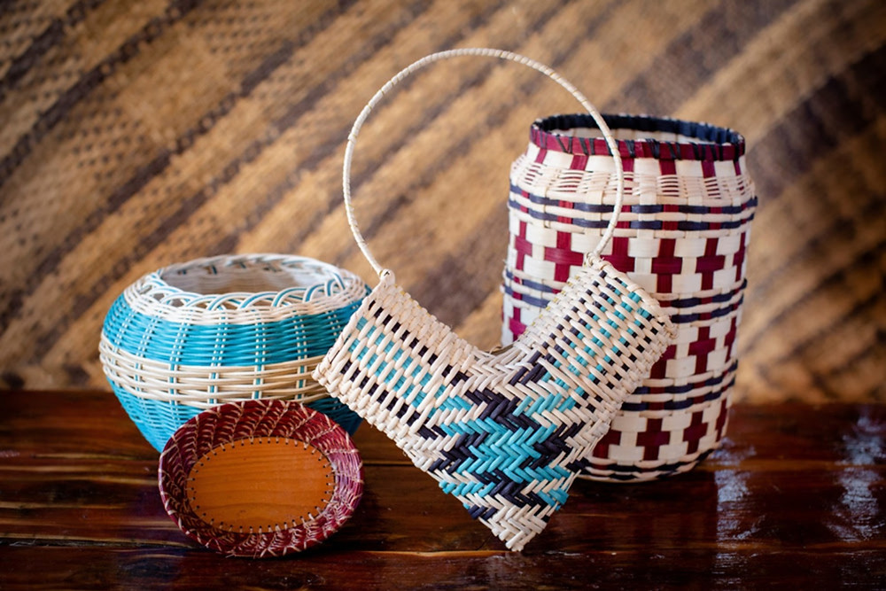 Sue Fish has been basket making for nearly 30 years. Her work is on display at the Chickasaw Cultural Center, Artesian Art Gallery in Sulphur, the Chickasaw Nation Medical Center in Ada, the Chickasaw Nation Clinic in Ardmore and Exhibit C Native Gallery & Gifts in Oklahoma City.