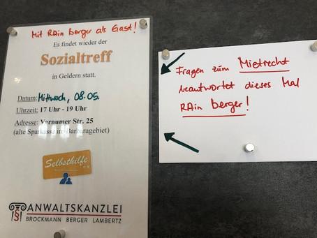 Der nächste Sozialtreff findet am Mittwoch, 08.05.2019 (17-19 Uhr), in Geldern statt.