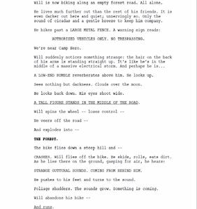 Excerpt from Stranger Things pilot script