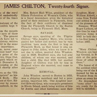 James Chilton, Mayflower passenger & my 12 great grandfather