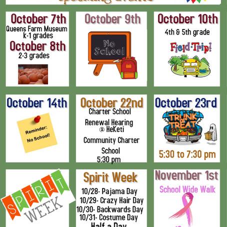 October Calendar South Bronx