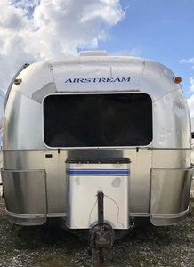 Front of an Airstream travel trailer