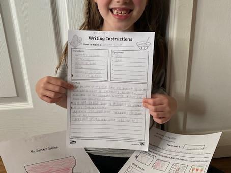 Mila writes instructions on how to make her perfect ice cream sundae. Yummy! (1TM)