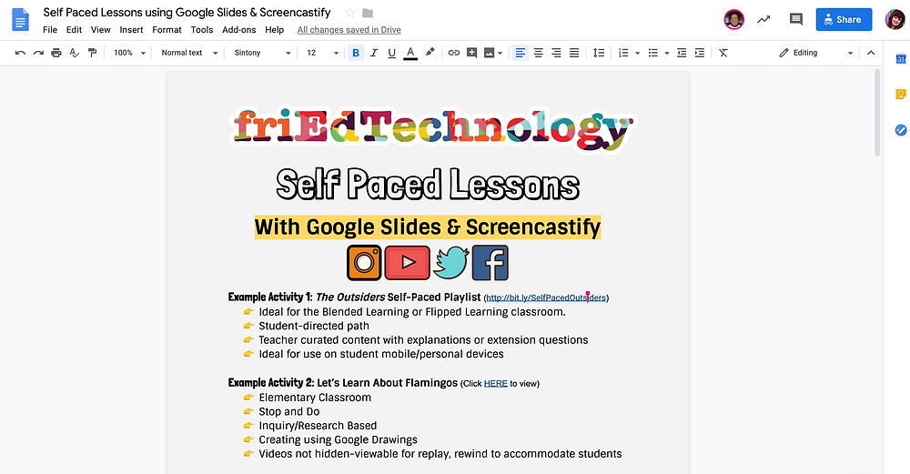 Self Paced Lessons With Google Slides & Screencastify