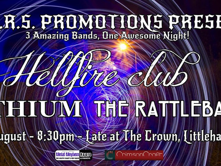 LARS Promotions Presents The Hellfire Club with The Rattlebacks and Lithium.