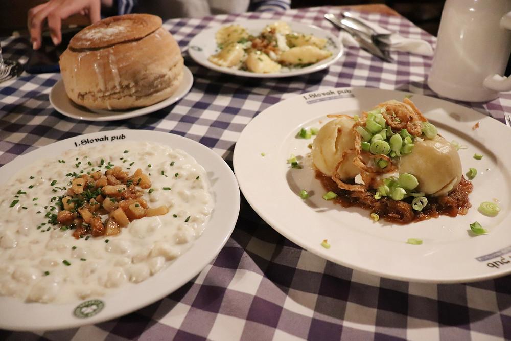 1 Slovak Pub perogies and soup in Bratislava Slovakia