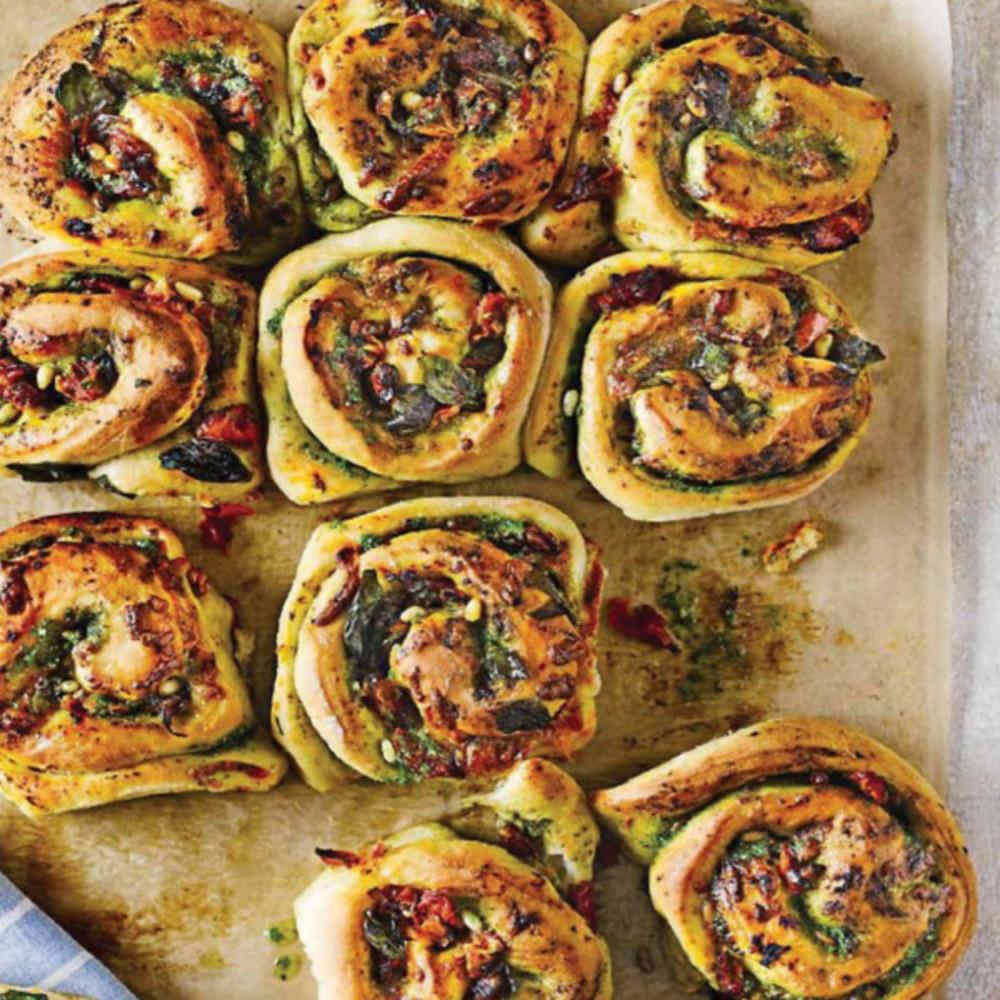 Cheese And Pesto Whirls