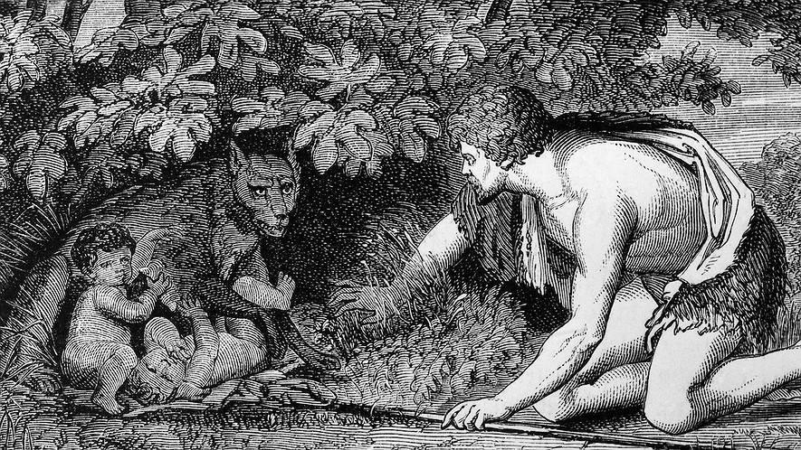 Grabado en el que se ve al pastor Fástulo cuando encuentra a los gemelos. Es en blanco y negro. Fástulo aparece agachado a la derecha de la imagen. Viste una piel que deja a la vista la mitad izquierda del cuerpo. Su mano derecha aparta unas hierbas, en la izquierda lleva una lanza que apoya en el suelo. A la derecha la escena de los gemelos que estaban siendo amamantados y son interrumpidos por el pastor. Gesto de sorpresa en Fástulo y de defensa en Luperca.