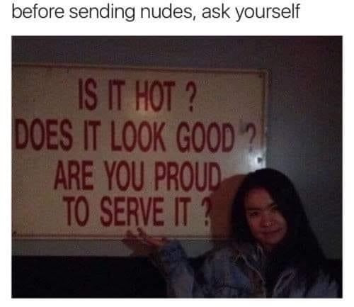 Before sending nudes, ask yourself is it hot? does it look good? are you proud to serve it? Sign Meme