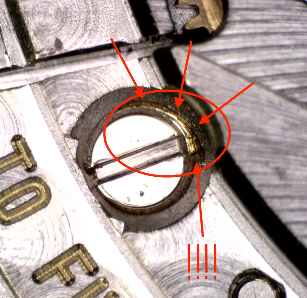 Watchmakers leave no trace. Unlike these damaged screw heads on this Swiss watch