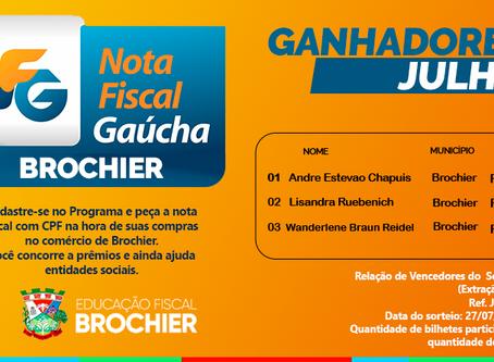 Sorteio mensal de julho do programa Nota Fiscal Gaúcha - Extração Municipal